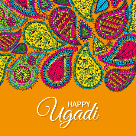 Invitation card. Floral paisley background with indian ormament and text Happy Ugadi. Vector illustration.