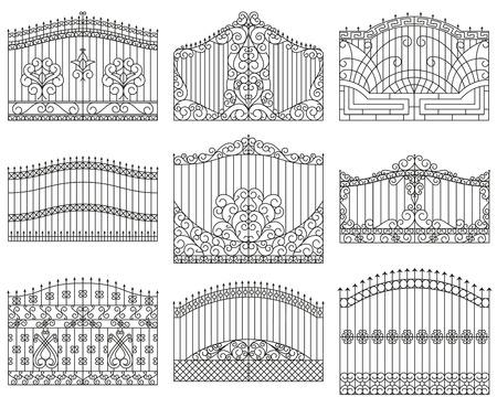 fijan puertas forjadas. puertas de metal decorativos con remolinos, flechas y adornos. El diseño lineal. Ilustración del esquema del vector aislado en blanco.