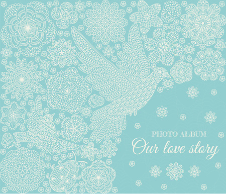 photo album cover: Photo album cover design. Romantic floral pattern. Vector illustration Illustration