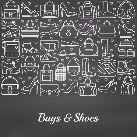 moccasin: Background made of line icons. Bags and shoes. Chalkboard background. Vector illustration Illustration