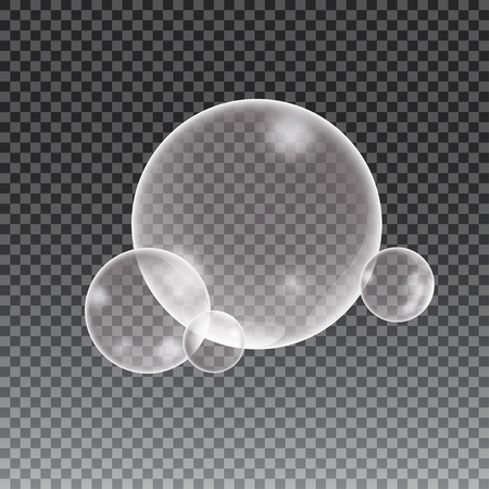 blisters: Soap water bubbles on checkered background, vector illustration