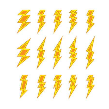forked: Set of lightning doodle isolated on white background, vector illustration