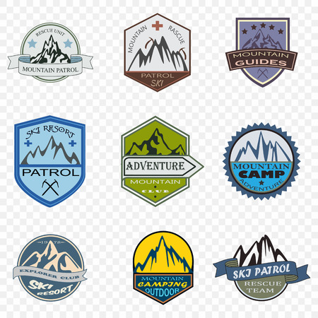 patrol: Set of ski patrol and mountain adventure badges and logo patches
