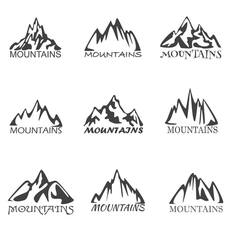 high up: Mountains Icons on the white background, vector illustration Illustration