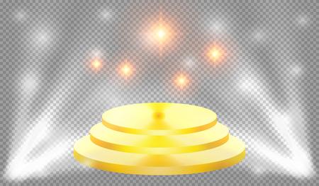 illuminate: Spotlights illuminate the golden podium with steps, vector illustration