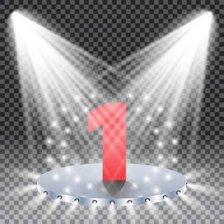 illuminate: two spotlights illuminate the podium with one steps, number one, winner concept, vector illustration.