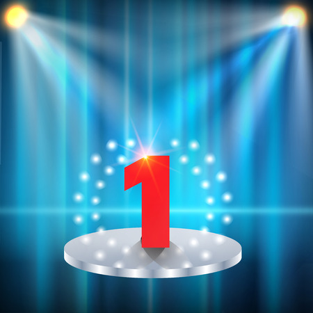 night club interior: two spotlights illuminate the podium with one steps, number one, winner concept, vector illustration.