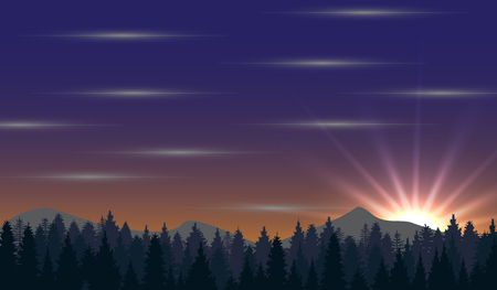 radiance: Abstract nature background with forest, mountain, sunrise and radiance Illustration