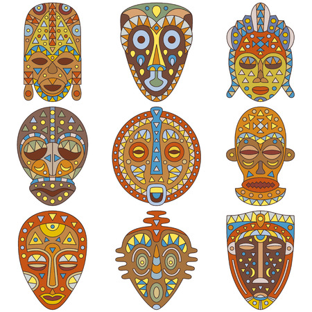 Icon set. Different ethnic masks Vettoriali