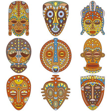 Icon set. Different ethnic masks Illustration