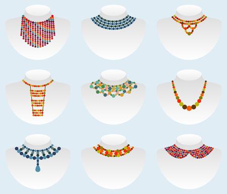 necklet: Bead colorful set. Vector illustration Illustration