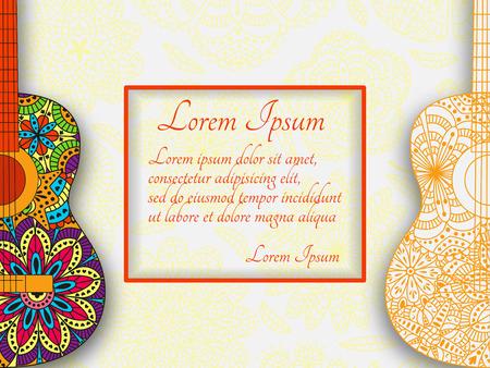 Romantische muzikale achtergrond met gitaar en plaats voor uw tekst. Patroon met bloemen en lieveheersbeestje aan de achterkant. Kleurrijke gedetailleerde vectorillustratie.