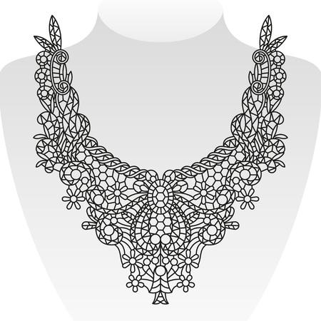 Ornate neck design. Vector illustration Иллюстрация
