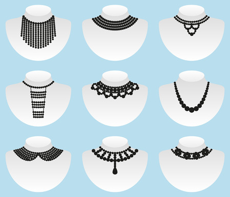 necklet: Bead silhouettes set. Vector illustration