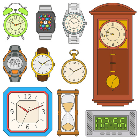 pocket pc: Watches set. Colorful vector illustration.