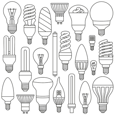 光ランプを設定します。輪郭を描かれたアイコンは、白で隔離。ベクトルの図。  イラスト・ベクター素材