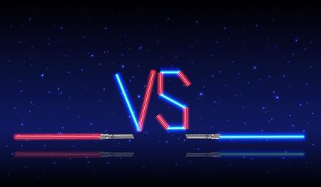 青と赤のネオンとロゴ。対ベクトル文字イラスト。競争のアイコン。シンボルを戦います。