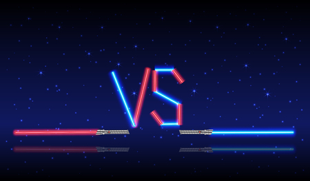 Blue and red Neon Versus Logo. VS Vector Letters Illustration. Competition Icon. Fight Symbol.