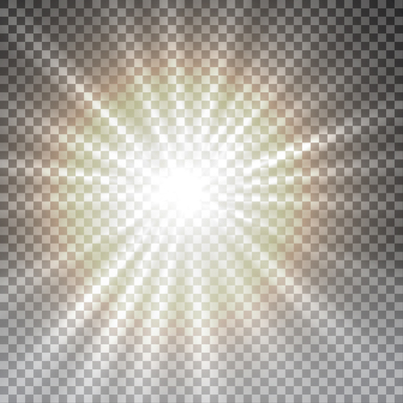 flare light: Vector transparent sunlight special lens flare light effect. Sun flash with rays and spotlight
