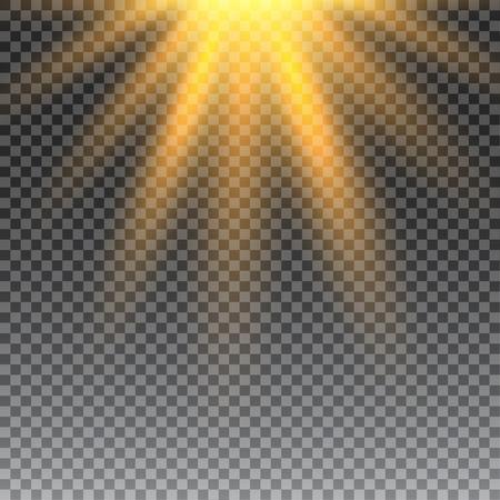 벡터 투명한 햇빛 특수 렌즈는 조명 효과 플레어. 광선 및 스포트 라이트와 일 플래시