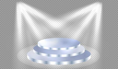 illuminate: Spotlights illuminate the blue podium with steps, vector illustration Illustration