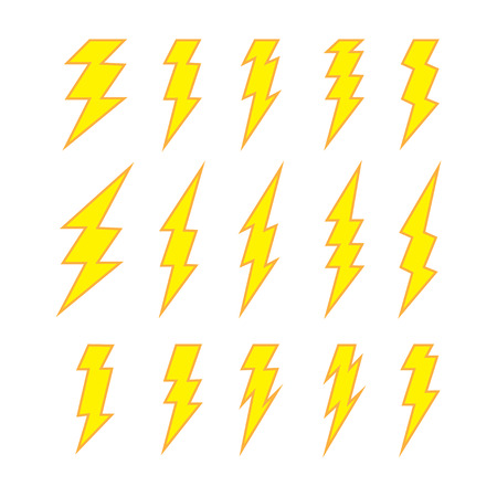 discharges: Set of lightning doodle isolated on white background, vector illustration