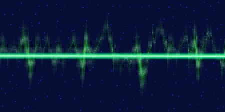 sonic: Sound waves oscillating glow, neon light. Abstract technology background, vector illustration Illustration