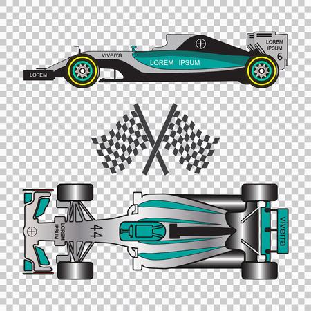 市松模様の背景に分離された青いレーシングカー。平面図と側面図。ベクトル図