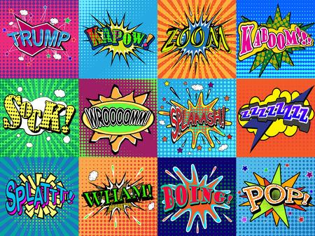 oh: Boom! wording in comic speech bubble in pop art style on burst background Illustration
