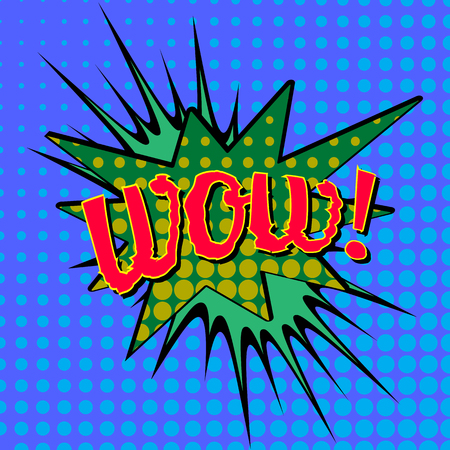 biff: Wow! Comic Speech Bubble, Cartoon, vector illustration.