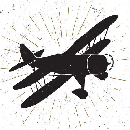 biplane: Hand drawn vintage icon with biplane vector illustration.