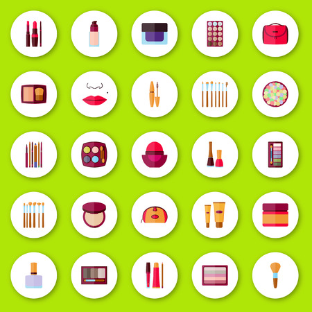 eyebrows: Flat icons collection. Decorative cosmetics for face, lips, skin, eyes, nails, eyebrows and beautycase. Make up set. Vector illustration.