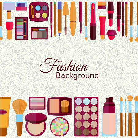 eyebrows: Fashion background. Flat icons collection. Decorative cosmetics for lips, skin, eyes, nails, eyebrows and beautycase. Make up set. Pattern with flowers and butterflies at the back. Vector illustration