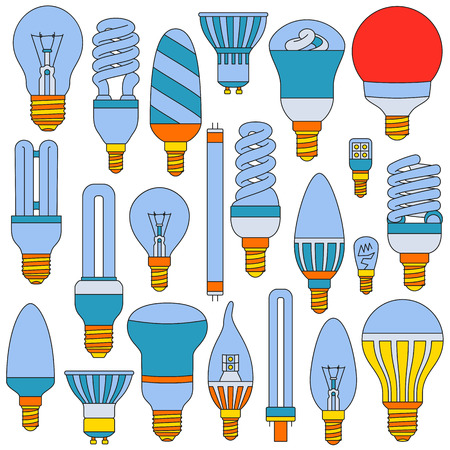 outlined isolated: Light lamps set. Colored outlined icons isolated on the white. Vector illustration.