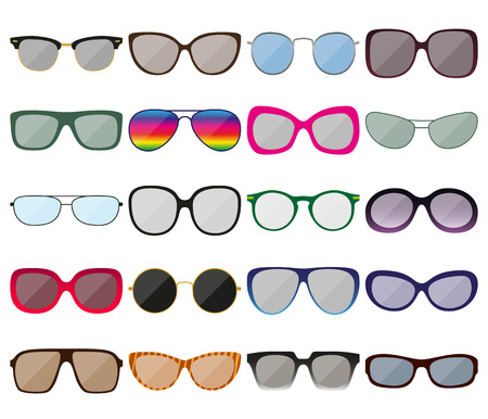 spectacle: Sunglasses icon set. Colored spectacle frames. Different shapes. Vector illustration Illustration