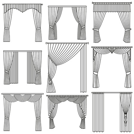 outlined isolated: Curtains set. Linear design. Vector outlined illustration isolated on white. Illustration