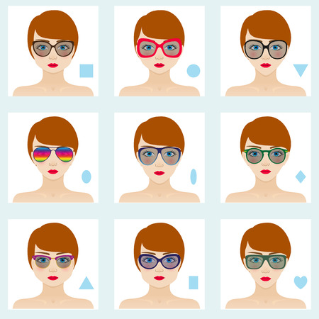 Female face shapes set. Nine icons. Girls with blue eyes, red lips and brown hairs. Glasses suitable for different women. Colorful vector illustration. Illustration