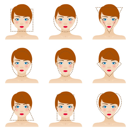 Different woman's face shapes set. Nine icons. Girls with blue eyes, red lips and brown hairs. Colorful vector illustration.