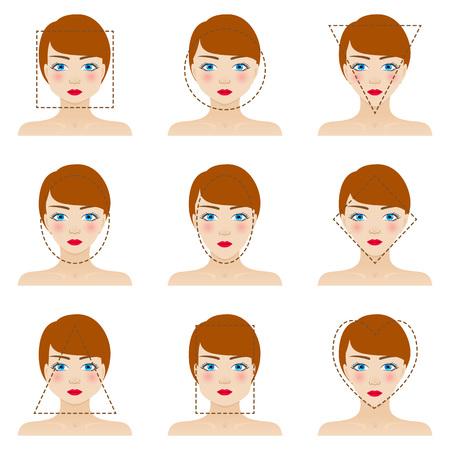 Les formes de visage de femme différent fixés. Neuf icônes. Les filles aux yeux bleus, aux lèvres rouges et poils bruns. Colorful illustration vectorielle. Vecteurs