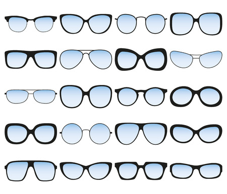 spectacle: Sunglasses icon set. Different spectacle frames and shapes. Vector illustration Illustration