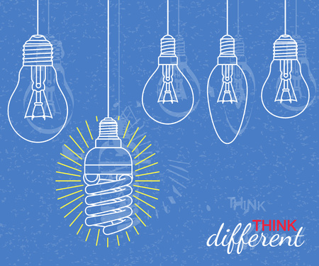 different concept: Think different concept. Background with bulbs and grunge texture. Vector illustration