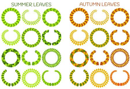 foliate: Foliate wreaths set. Autumn and summer leaves. Vector illustration. Illustration