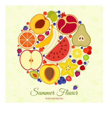 Colorful round background. Different fruits and berries. Pattern with tree leaves at the back. Vector illustration.
