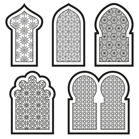 middle: Arabic or Islamic windows set. Vector illustration.