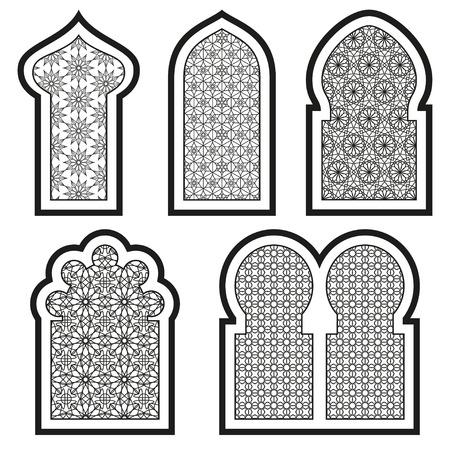 Arabische of islamitische vensters in te stellen. Vector illustratie.