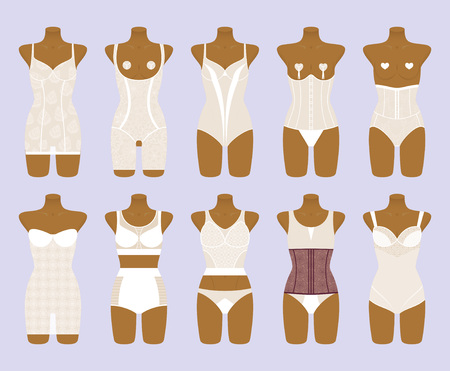 corrective: Corrective lingerie set. Female lace underwear. Vector illustration.