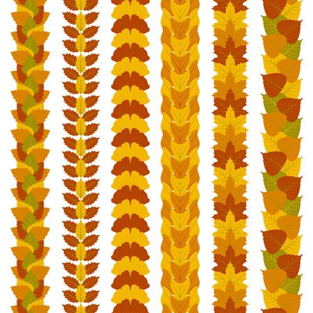 Conjunto de fronteras foliadas estilizadas hechas de diferentes hojas de los árboles, como el ginkgo, árbol de tulipán, fresno, abedul, arce y álamo. Ilustración del vector.