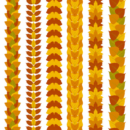 ash tree: Set of stylized foliate borders made of different tree leaves, such as ginkgo, tulip tree, ash, birch, maple and poplar. Vector illustration. Illustration