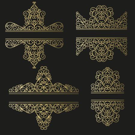 decorative line: Line art set. Decorative frames for your design. Vector illustration.