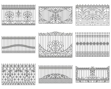 Geschmiedete Zäune gesetzt. Geradliniges Design. Vektor Umriss Illustration isoliert auf weißem